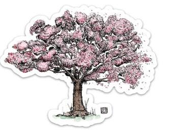 BellavanceInk: Cherry Blossom Tree Vinyl Sticker Pen and Ink Illustration