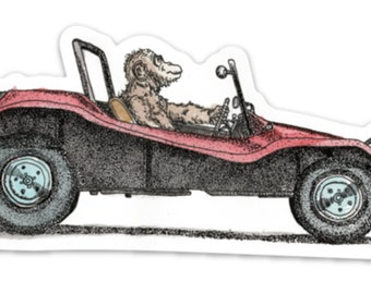 BellavanceInk: Monkey Driving a Dune Buggy Vinyl Sticker Pen and Ink Illustration