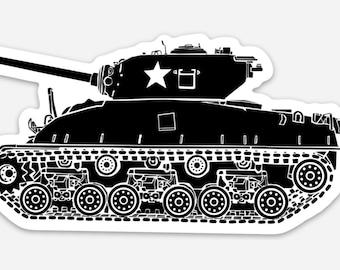 BellavanceInk: M4 Sherman Tank Vinyl Sticker Hand Drawn Illustration