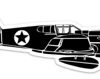 BellavanceInk: Vintage P40 Warhawk Flying Tigers Fighter Airplane Vinyl Sticker Illustration