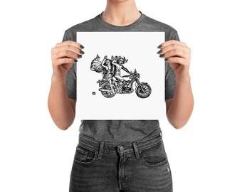 BellavanceInk: Satan/Devil and a Woman Riding a Motorcycle Print