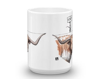BellavanceInk: White Coffee Mug With Funny Texas Longhorn And Mouse Drawing Pen & Ink With Watercolor Illustration