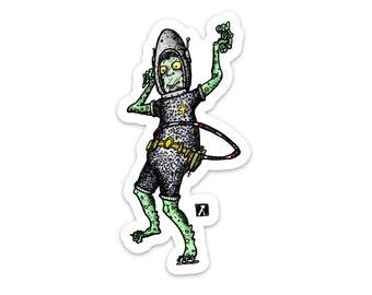 BellavanceInk: UFL Alien Hula Hooping Vinyl Sticker Illustration
