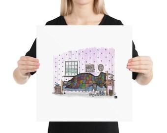 BellavanceInk: Bedridden Rhinoceros Sick In The Bed With The Flu Pen & Ink/Water Color Illustration