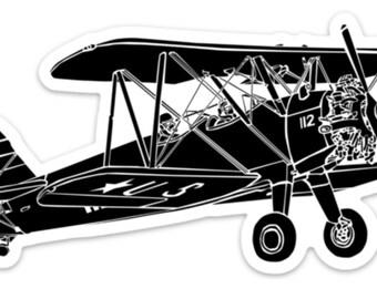 BellavanceInk: Vintage Stearman Biplane Airplane Vinyl Sticker Illustration