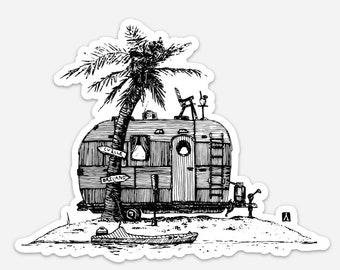 BellavanceInk: Vintage Trailer On A Deserted Island Vinyl Sticker Pen and Ink Illustration