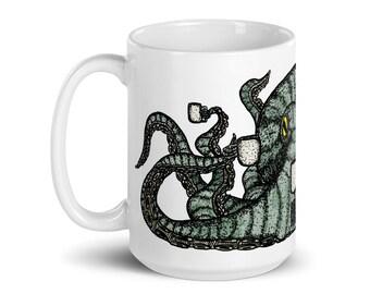 BellavanceInk: Octopus With Multiple Coffee Mugs Pen & Ink Watercolor Illustration On A Coffee Mug
