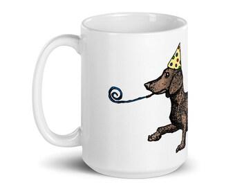 BellavanceInk: White Coffee Mug With Wiener Dog Dachshund Artwork Pen & Ink
