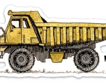 BellavanceInk: Construction Dump Truck Pen & Ink Watercolor Vinyl Sticker Illustration