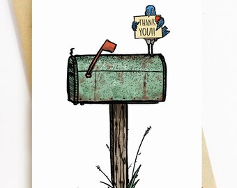 BellavanceInk: Thank You Card With Blue Bird On An Old Mailbox 5 x 7 Inches