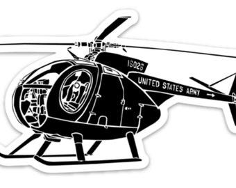 BellavanceInk: Vintage Loach OH-6 Cayuse Helicopter Vinyl Sticker Illustration