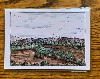 BellavanceInk: Greeting Card With Pen and Ink Watercolor/Pen Drawing of Blue Ridge Skyline Near Crozet Virginia 5 x 7 Inches