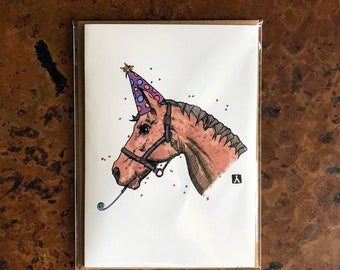 BellavanceInk: Birthday Card With Horse Ready For A Party Pen & Ink Watercolor Illustration 5 x 7 Inches