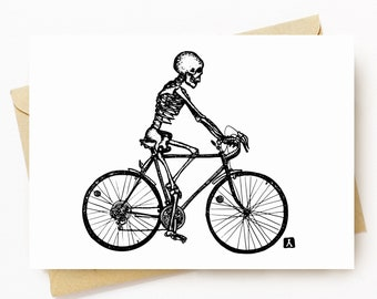 BellavanceInk: Greeting Card With Skeleton Riding Their Bike Down The Road 5 x 7 Inches