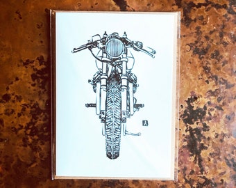 BellavanceInk: Greeting Card With Steve West of Silver Piston Cafe Racer Motorcycle 5 x 7 Inches