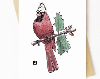 BellavanceInk: Christmas Card With Cardinal With A Dab Of Fallen Snow On His Head Pen & Ink Watercolor Illustration 5 x 7 Inches