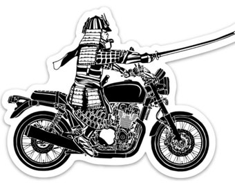 BellavanceInk: Samurai On A Motorcycle Vinyl Sticker Illustration