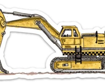 BellavanceInk: Construction Excavator Pen & Ink Watercolor Vinyl Sticker Illustration