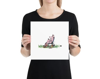 BellavanceInk: Pen & Ink Watercolor of Stuffed Pig Napping After His Picnic Print