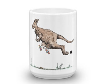 BellavanceInk: White Coffee Mug With Kangaroo and Joey Hopping Pen & Ink With Watercolor Print