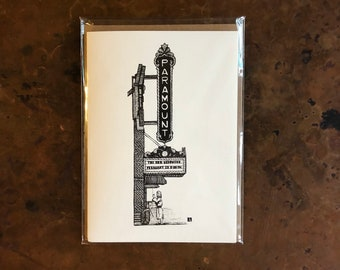 BellavanceInk: Greeting Card With A Pen & Ink Drawing Of The Paramount Theater In Charlottesville 5 x 7 Inches
