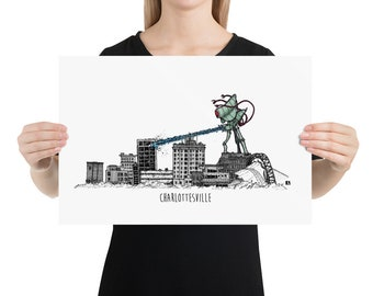 BellavanceInk: Pen And Ink Sketch Print of Large Alien Monster Attacking the Abandoned Landmark Hotel in Charlottesville Virginia