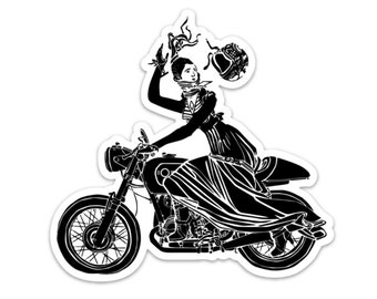 BellavanceInk: Victorian Lady On A Cafe Racer Motorcycle Vinyl Sticker Illustration