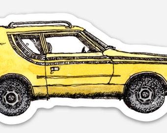 BellavanceInk: Vintage AMC Yellow Gremlin Vinyl Sticker Hand Drawn Illustration