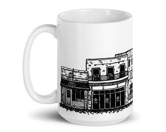BellavanceInk: Coffee Mug With Pen & Ink Sketch Of The Corner Near University Avenue in Charlottesville, Virginia
