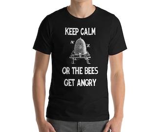 BellavanceInk: Keep Calm Or The Bees Get Angry Beekeeping Short Sleeve T-Shirt