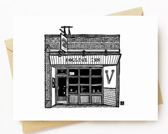 BellavanceInk: Greeting Card With The Charlottesville Restaurant The College Inn 5 x 7 Inches