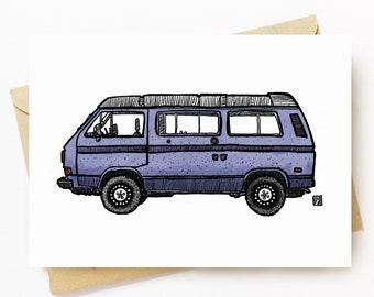 BellavanceInk: Greeting Card With Vintage Vanagon Camper Van Pen & Ink Watercolor Illustration 5 x 7 Inches