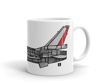 BellavanceInk: Coffee Mug With A Vintage F16 Fighting Falcon Jet Pen & Ink Sketch With Watercolor