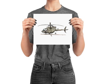 BellavanceInk: Pen & Ink Drawing/Watercolor of a OH-58 Kiowa Helicopter (Limited Prints Also Available)