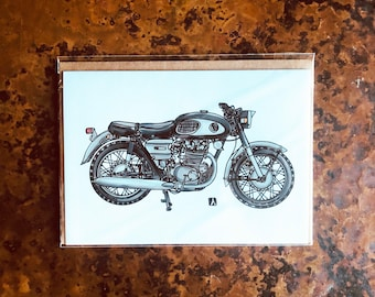 BellavanceInk: Greeting Card With Vintage Japanese Cafe Racer Motorcycle Black Bomber 5 x 7 Inches