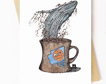 BellavanceInk: Greeting Card With Blue Whale Jumping Out Of Coffee Cup Graphic 5 x 7 Inches