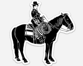BellavanceInk: Cowgirl Rider On A Western Horse Vinyl Sticker Pen and Ink Illustration