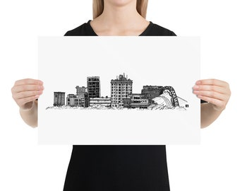 BellavanceInk: Charlottesville Area Attractions The Downtown Mall Skyline Pen & Ink Sketch
