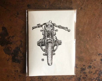 BellavanceInk: Greeting Card With A Pen & Ink Drawing Of A Cafe Racer Motorcycle 5 x 7 Inches