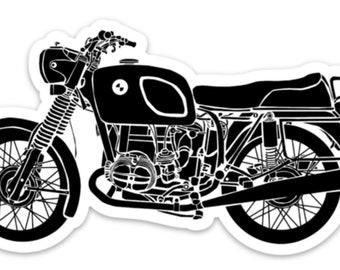 BellavanceInk: Vintage German Motorcycle R75 Vinyl Sticker Illustration