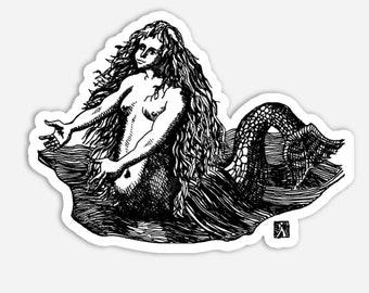 BellavanceInk: Pen & Ink Sketch Mermaid Vinyl Sticker Pen and Ink Illustration