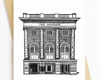BellavanceInk: Greeting Card With A Pen & Ink Drawing Of The Jefferson Theater In Charlottesville 5 x 7 Inches