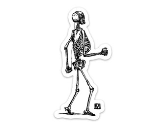 BellavanceInk: Skeleton Grooving Down The Street Listening To Music and Drinking A Coffee Vinyl Sticker Hand Drawn Illustration