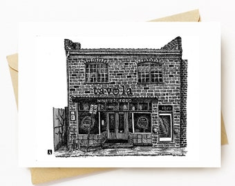 BellavanceInk: Greeting Card With A Pen & Ink Drawing Of Tavola Restaurant In Belmont Charlottesville 5 x 7 Inches