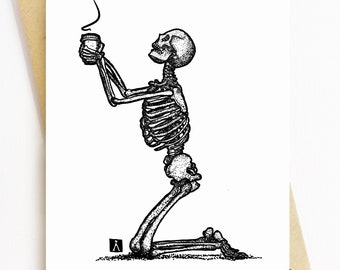 BellavanceInk: Greeting Card With Skeleton Giving Thanks and Praying For Coffee 5 x 7 Inches