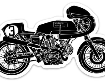 BellavanceInk: Vintage Italian Racing Motorcycle Vinyl Sticker Illustration