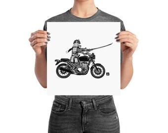 BellavanceInk: Samurai Warrior Riding a Motorcycle Print