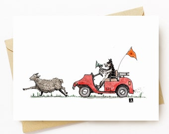 BellavanceInk: Greeting Card With Sheep Being Chased By Sheep Dog In A Golf Cart 5 x 7 Inches
