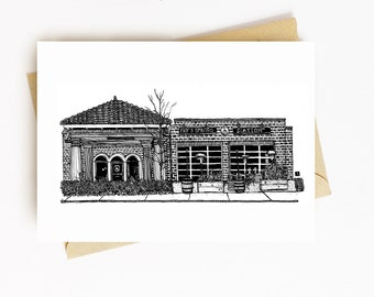 BellavanceInk: Greeting Card With A Pen & Ink Drawing Of Fry's Spring Station Restaurant Charlottesville  5 x 7 Inches