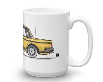 BellavanceInk: Limited Release Coffee Mug With A Hand Drawn Pen & Ink Watercolor of a Vintage Volvo 240 Sedan